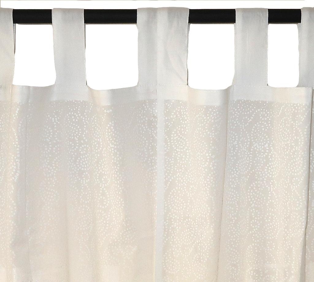 White on White Printed Cotton Curtain