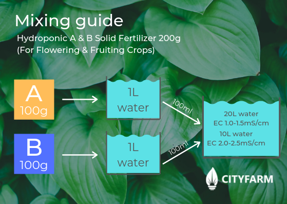 & B Solid Fertilizer 200g (For Flowering & Fruiting Crops) mixing guide