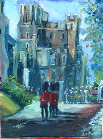 """Cornets and Bayonets"" - north Terrace Windsor Castle Oil painting"