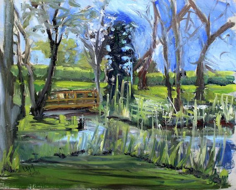 Water Garden - Hall Farm Horning -  Plein Air Oil