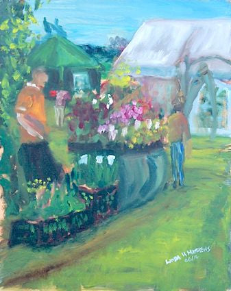 """Nursery Stall - East Ruston Old Vicarage""- Oil"