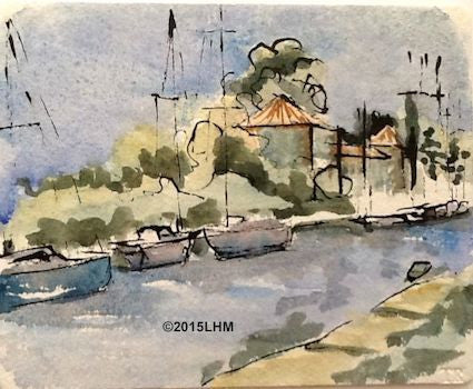 Canal du Midi - Watercolour & Ink