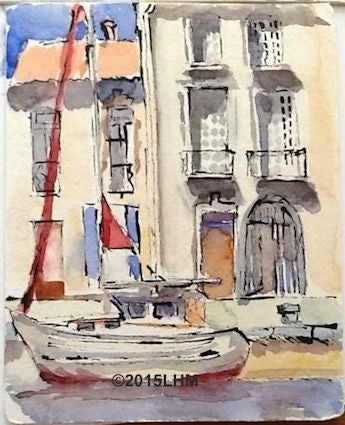 """Marseillan Port"" Watercolour & Ink; Plein Air"