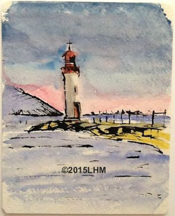 Le Phare - Onglous; Watercolour & Ink; Plein Air