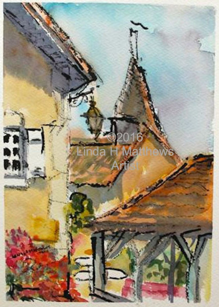 Roofs Mortemart Limousin France - Watercolour & Ink
