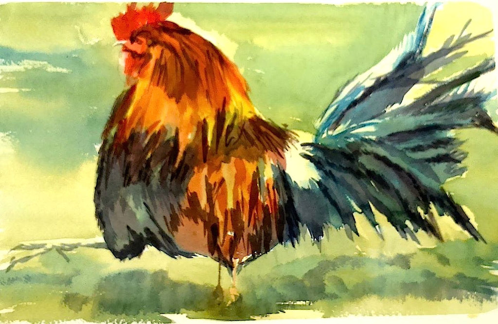 """Let's Strut!!"" - Watercolour on Cotton"