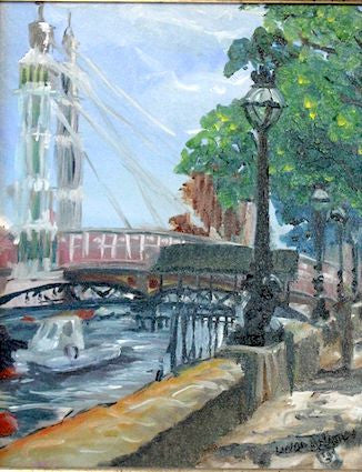 """Cadogan Pier, Chelsea Embankment London"" - Oil"