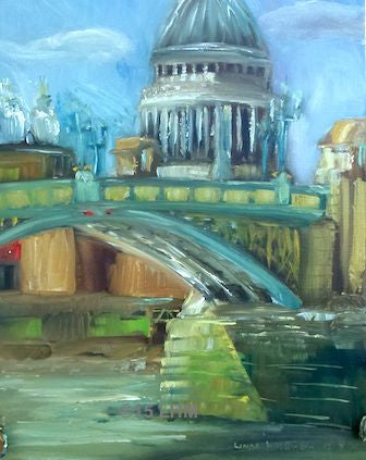 """St Paul's"" from South Bank - Oil"