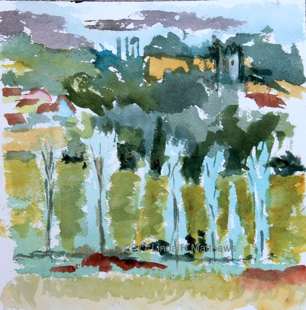 Trees Dedham Vale -  Original  Plein Air Watercolour