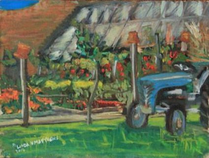 """Old Tractor, John's Garden Clippesby Hall"" - Oil"