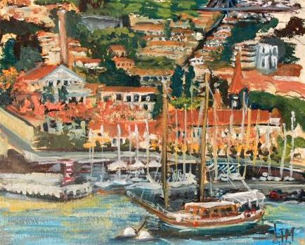 """First Port; Funchal, Madeira, Espagne"" -  Plein Air Oil"