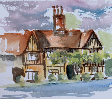 Tudor House Stratford St Mary -  Original  Plein Air Watercolour