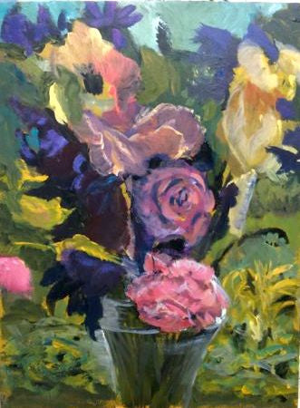 """Flowers from East ruston Old Vicarage"" - Acrylic"