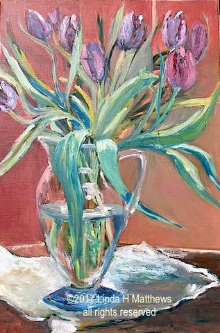 """Tulips in Granny's Jug, Nature Morte""  Oil"