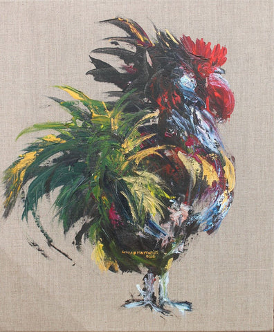 """Funky Cockerel"" Acrylic on Linen"