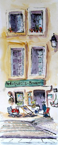 """Antiquites - Montpellier France"" Watercolour & Ink"