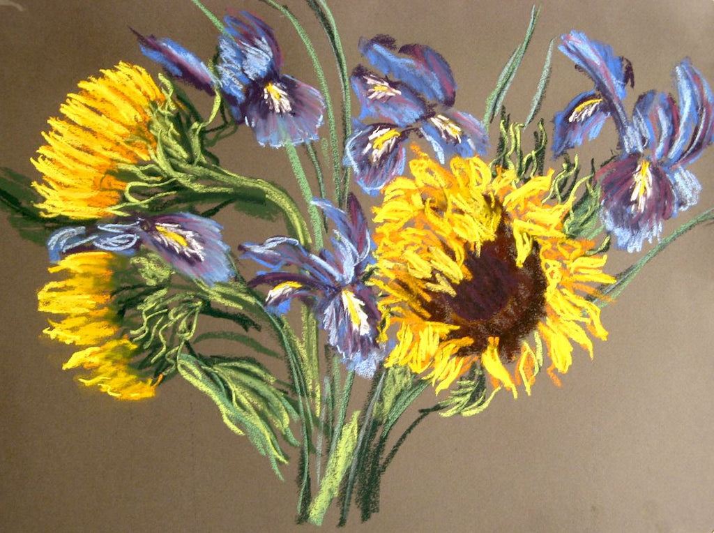 """Sunflower and Iris"" - Pastel Painting"