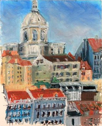 """Lisbon, from Saga Pearl II"" -  Plein Air Oil"