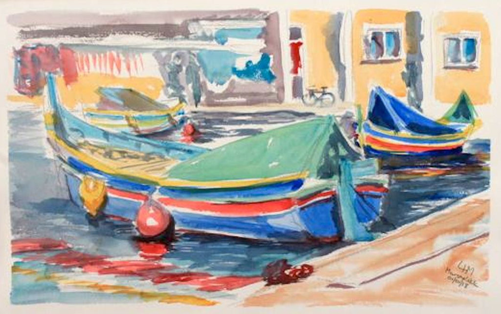 Boats at Marsaxlokk Malta - Original Watercolour