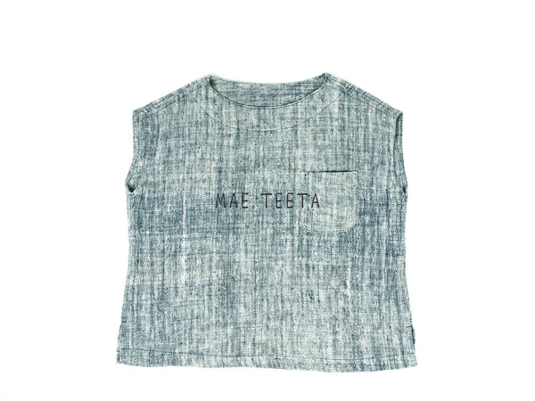 Oversize Boat neck Blouse (White mix indigo)