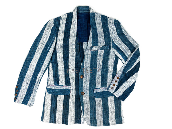 Collarless Blazer Indigo-striped
