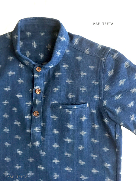 Short Sleeves Polo Shirt Navy Round Collar Indigo-Ikat Fabric