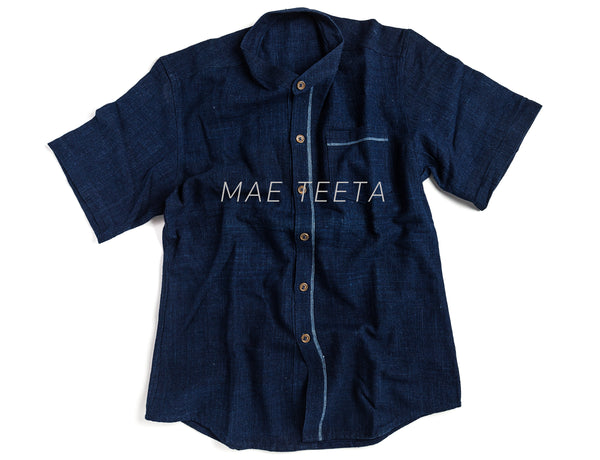 Indigo shirt, stand collar