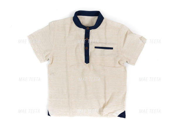 Navy Round Collar (Indigo) Polo Men Short Sleeves with Green Cotton (*Light Soft Cotton)