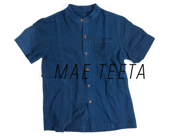 Stand collar Men Shirt Plain INDIGO