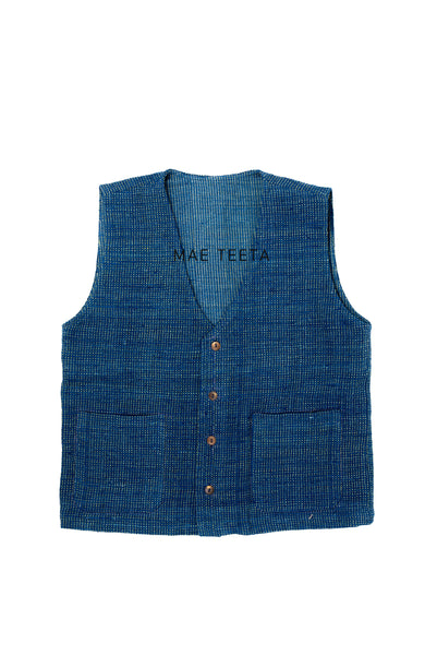Button Front Vest, Indigo dot green