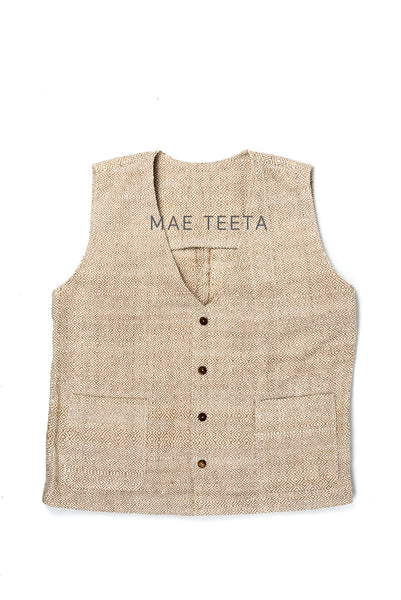 Button Front Vest, IKAT LightBrown