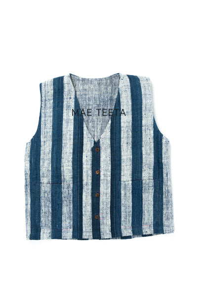 Button Front Vest, Indigo Stripe