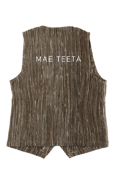 Vest, Brown dot white