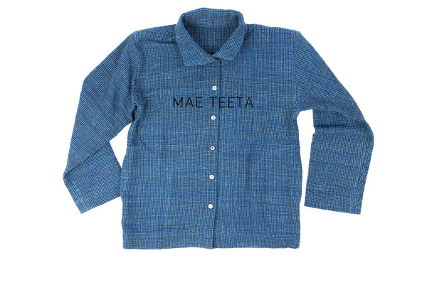 Traditional SleevesOuter shirt, Indigo dot green (Unisex)