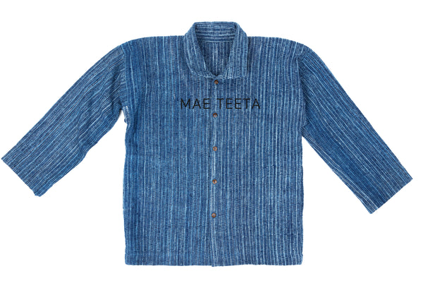 Traditional Sleeves Outer shirt, Indigo blur stripe (Unisex)