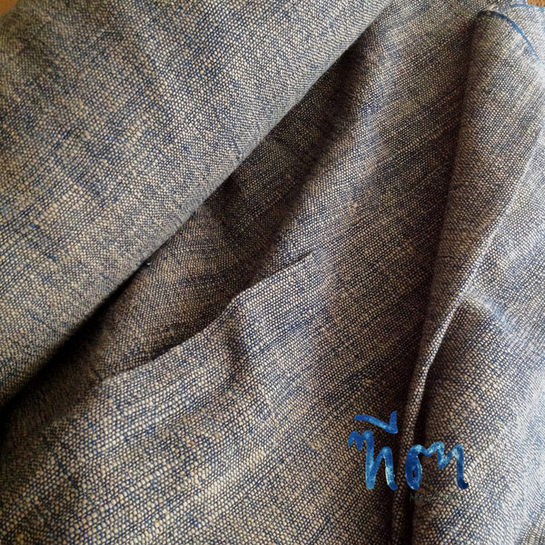 Natural brown cotton and indigo yarn