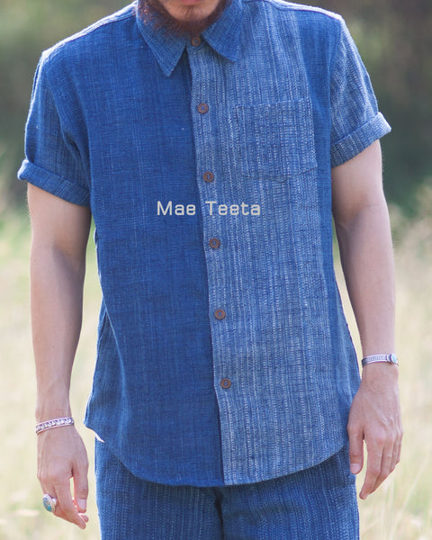 Light Indigo two-shade shirt