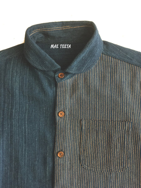 Pink Stitch-Handwoven Men Shirt, Short sleeves