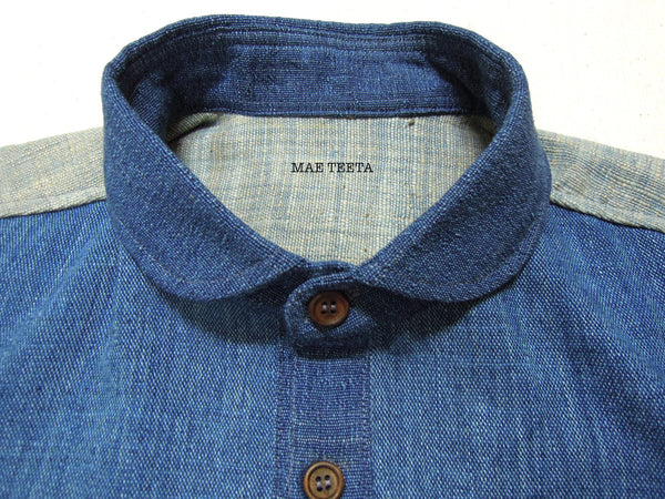 Two Shade Polo Men Shirt with Navy Round Collar