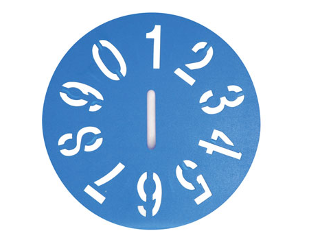 Poly Clock Stencil - 50mm - 0-9
