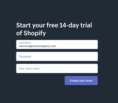 Sign up for a Shopify trial - Veronica Jeans Shopify Expert