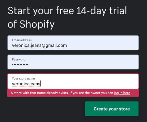 discovering if you can register your name in Shopify - Veronica Jeans Shopify Expert