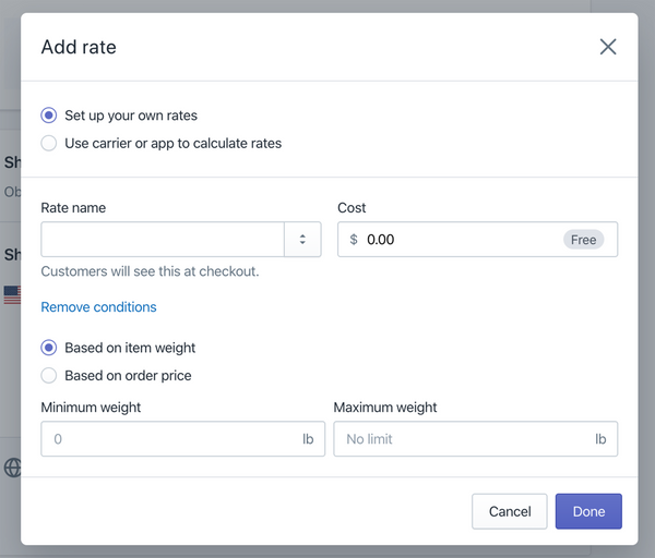 set your own shipping rates with weights or pricing- Veronica Jeans Shopify Queen & Bestselling Author ' Shopify Made Easy'