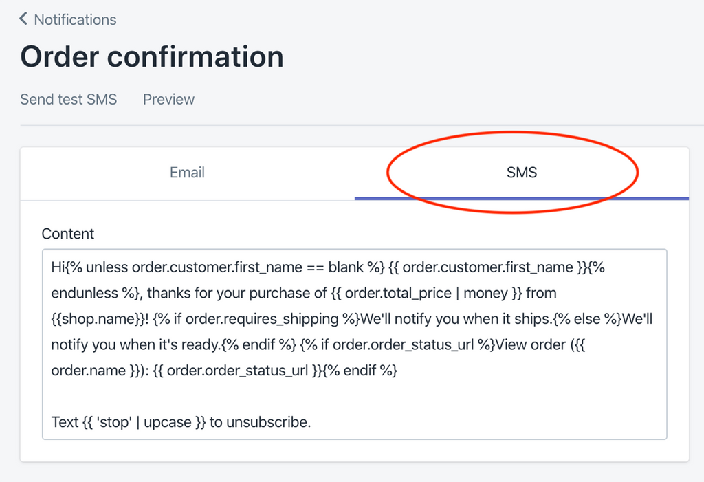 sms notifications from Shopify