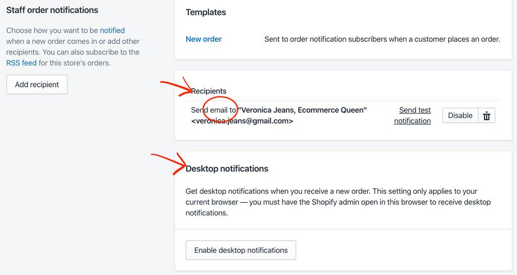 notifications in Shopify- Veronica Jeans Shopify Queen & Bestselling Author ' Shopify Made Easy'