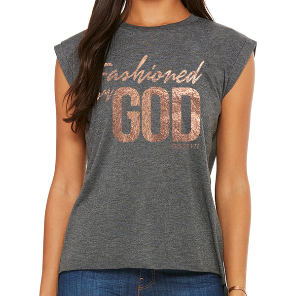 Fashioned by GOD (Women's Flowy Muscle Tee with Rolled Cuff)
