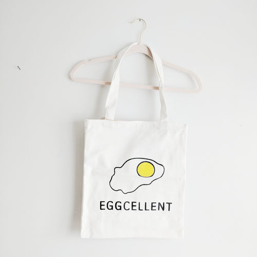 'Eggcellent' Canvas Tote Bag with Pocket