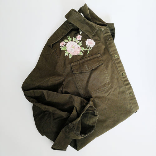 'Rose' Embroidered Military Shirt