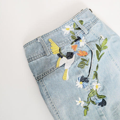 'Rory' Embroidered Denim A-Line Skirt