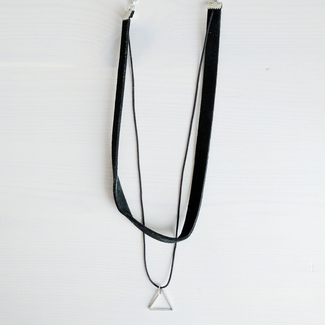 'Bea' Double Layer Triangle Choker Necklace